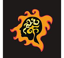 Thought-wave in flames, retro graphic female profile portrait  Photographic Print