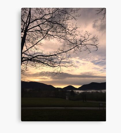 Misty mountain morn Canvas Print