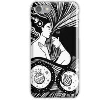 Couple in love. Overhead of beautiful couple sleeping and hugging handdrawn illustration. Sleeping lovers in the space cosmos. Hugging lovers in the sky.  iPhone Case/Skin