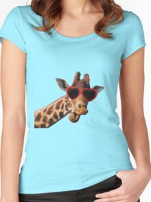 Cool Giraffe wearing Sunglasses ( fun humour comedy ) Women's Fitted Scoop T-Shirt