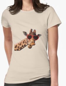 Cool Giraffe wearing Sunglasses ( fun humour comedy ) Womens Fitted T-Shirt