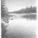 lake drawing by Mike Theuer