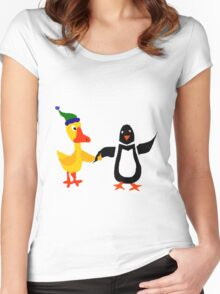 Funny Cool Duck and Penguin Friends Women's Fitted Scoop T-Shirt