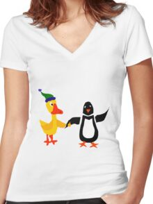 Funny Cool Duck and Penguin Friends Women's Fitted V-Neck T-Shirt