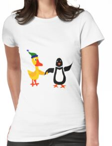 Funny Cool Duck and Penguin Friends Womens Fitted T-Shirt