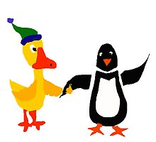 Funny Cool Duck and Penguin Friends by naturesfancy