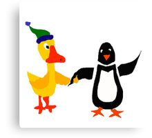 Funny Cool Duck and Penguin Friends Canvas Print