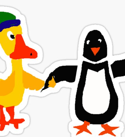 Funny Cool Duck and Penguin Friends Sticker
