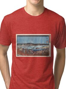 Fireworks At Ryogoku - Hiroshige Ando - c1840 - woodcut Tri-blend T-Shirt