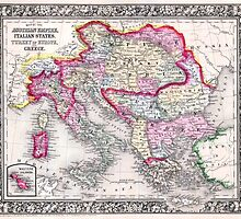 Vintage Map of Europe Austria Italy Turkey Greece by pdgraphics