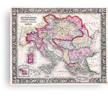 Vintage Map of Europe Austria Italy Turkey Greece Canvas Print