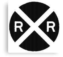 Black Railroad Crossing Sign Canvas Print
