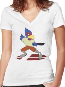 Falco - Super Smash Bros Melee Women's Fitted V-Neck T-Shirt
