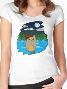 Cat in the forest Women's Fitted Scoop T-Shirt