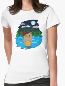 Cat in the forest Womens Fitted T-Shirt