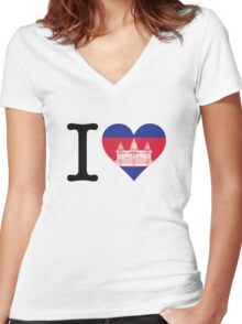 I Love Cambodia Women's Fitted V-Neck T-Shirt