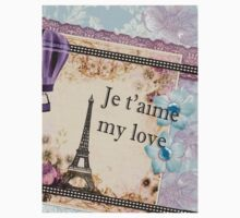 Paris Je t'aime vintage retro art One Piece - Short Sleeve