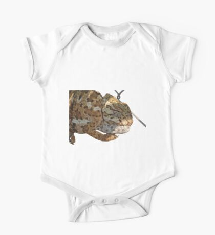 Chameleon Hanging On A Wire Fence Vector One Piece - Short Sleeve