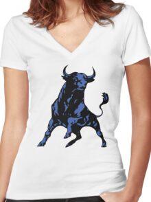Blue Bull Women's Fitted V-Neck T-Shirt
