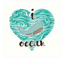 i love ocean (happy whale) Ocean Art Print