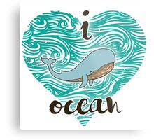 i love ocean (happy whale) Ocean Metal Print