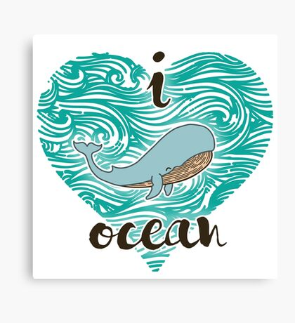 i love ocean (happy whale) Ocean Canvas Print