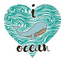 i love ocean (happy whale) Ocean Photographic Print