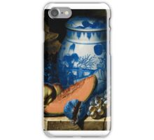 PIERRE-ANTOINE LEMOINE ; STILL LIFE WITH GRAPES, A PLATTER OF PEACHES AND A CHINESE JAR ON A STONE LEDGE iPhone Case/Skin