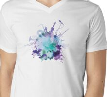 Watercolor Music Mens V-Neck T-Shirt