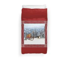 Sledding with Cats Duvet Cover