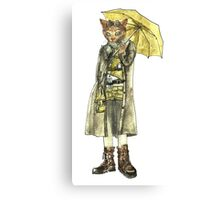 Steampunk Yellow Umbrella Cat Canvas Print