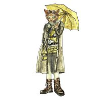 Steampunk Yellow Umbrella Cat Photographic Print