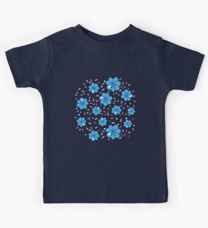 Gentle Blue Flowers Pattern Kids Tee