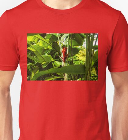 Tropical Impressions - Red Ginger Flower, Framed in Lush Jungle Green Unisex T-Shirt