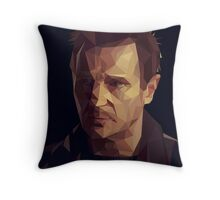 Liam Neeson Low-Poly Throw Pillow