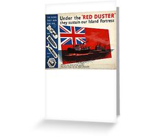 WAR POSTER, Red Duster, Red Ensign, UK, GB, Royal Merchant Navy, WWII, Poster Greeting Card