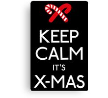 Keep calm it's xmas candy canes Canvas Print