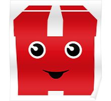 Red gift with funny face Poster