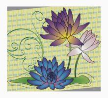 Pretty Lotus Flowers on Green Plaid One Piece - Short Sleeve