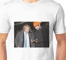 London Mayor,Boris Johnson, tests out London's largest open workshop as he tries welding a bicycle frame with Rob Quirk helping him Unisex T-Shirt