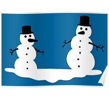 Two frosty snowmen Poster