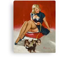 Gil Elvgren Pin Up with kittens Canvas Print