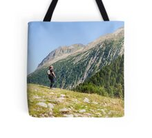 Female hiker in Zillertal alps, Tirol, Austria Model release available  Tote Bag