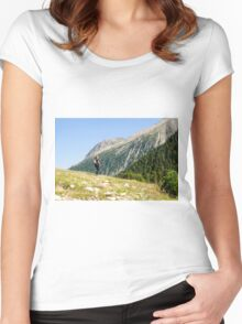 Female hiker in Zillertal alps, Tirol, Austria Model release available  Women's Fitted Scoop T-Shirt
