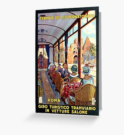 Rome Italy Interior luxury tourist tram Italian travel Greeting Card