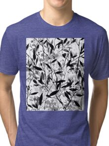 Wandering Wildflowers Black and White Tri-blend T-Shirt