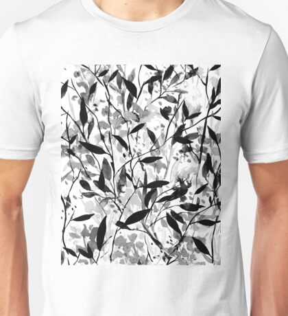 Wandering Wildflowers Black and White Unisex T-Shirt