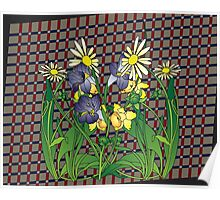 Spring flowers  on a Beige plaid background Poster
