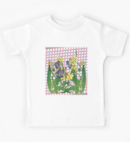 Spring flowers  on a Beige plaid background Kids Tee