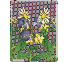 Spring flowers  on a Beige plaid background iPad Case/Skin